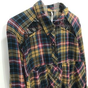 Free People cut out shoulder plaid button down